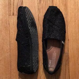 TOMS BLACK SPARKLE WOMENS size 7